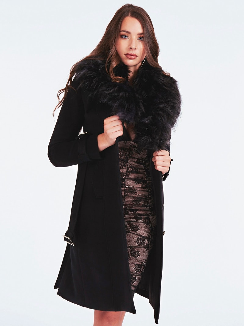 MARCIANO FAUX FUR COAT image number 1