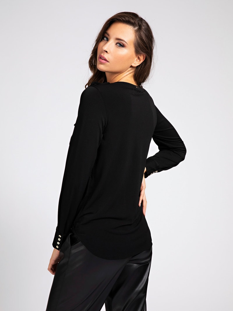 MARCIANO KNIT CREPE TOP image number 2