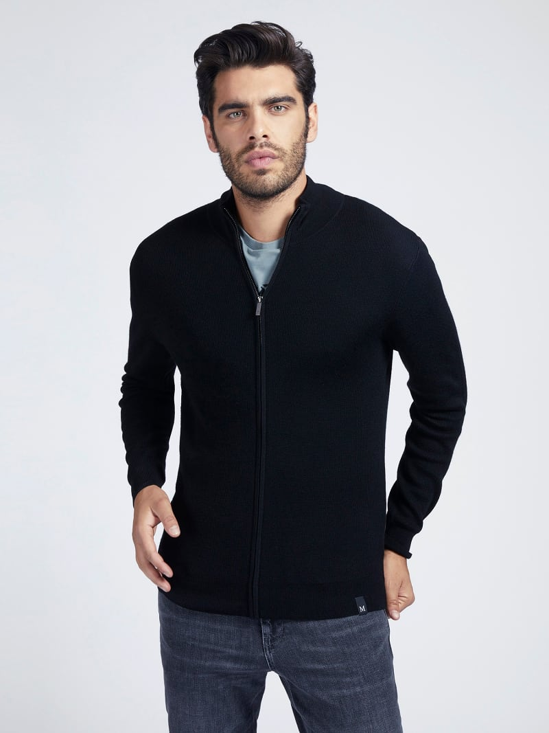 MARCIANO ZIPPER RIB SWEATER image number 0