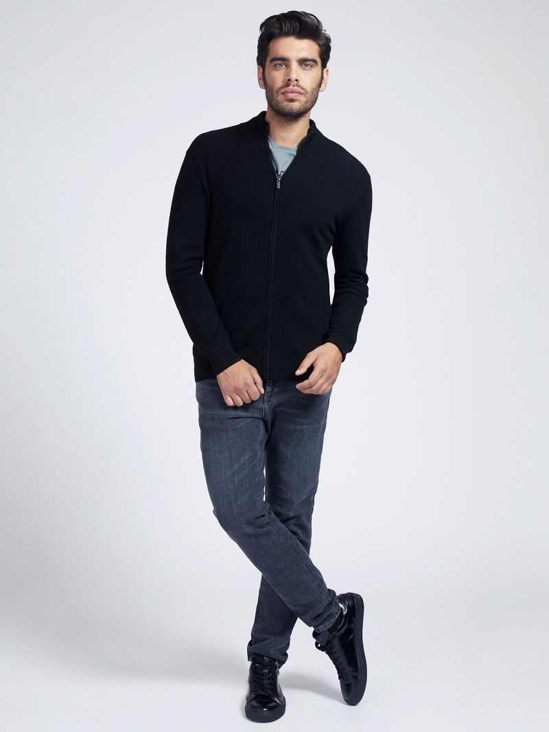 MARCIANO ZIPPER RIB SWEATER image number 1