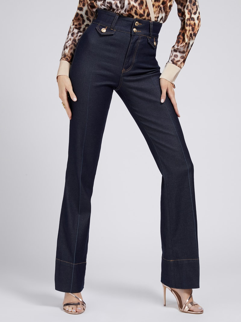 MARCIANO FIT AND FLARE DENIM PANT image number 0