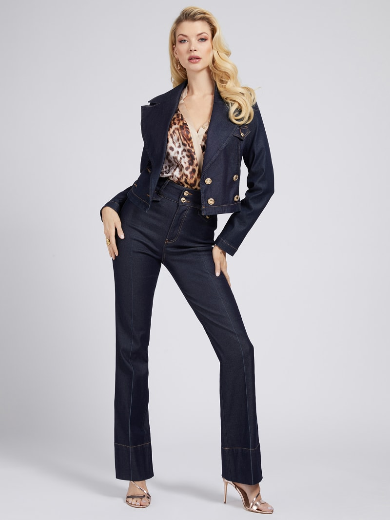 MARCIANO FIT AND FLARE DENIM PANT image number 1