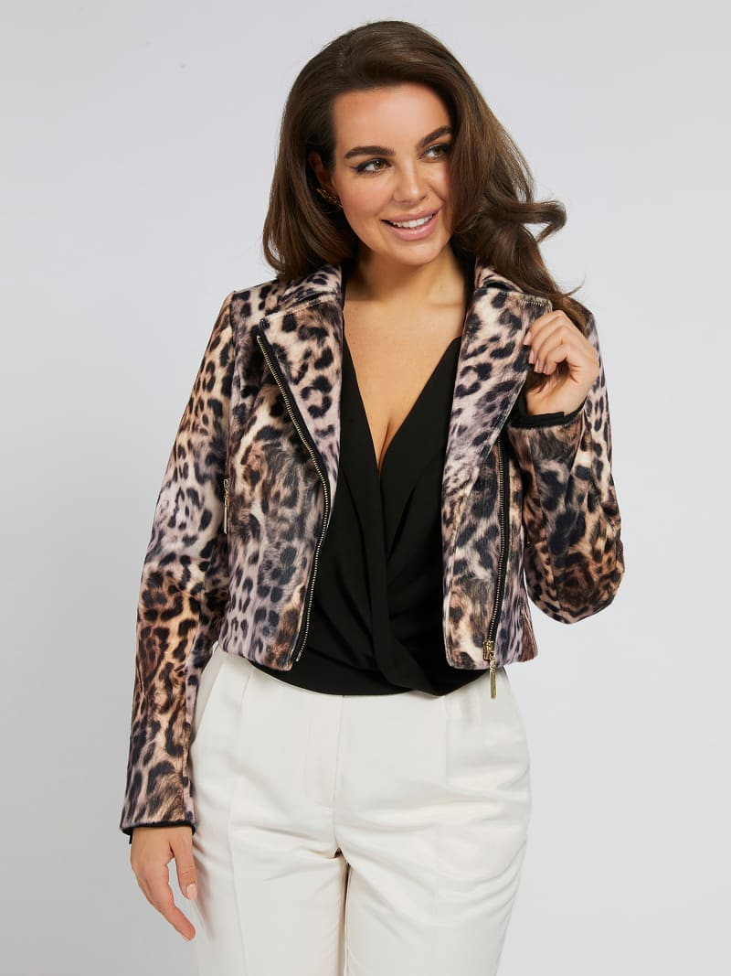 MARCIANO PRINT FAUX LEATHER JACKET image number 0