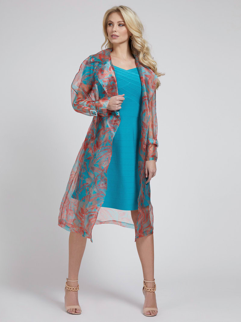 MARCIANO FLORAL PRINT TRENCH image number 0
