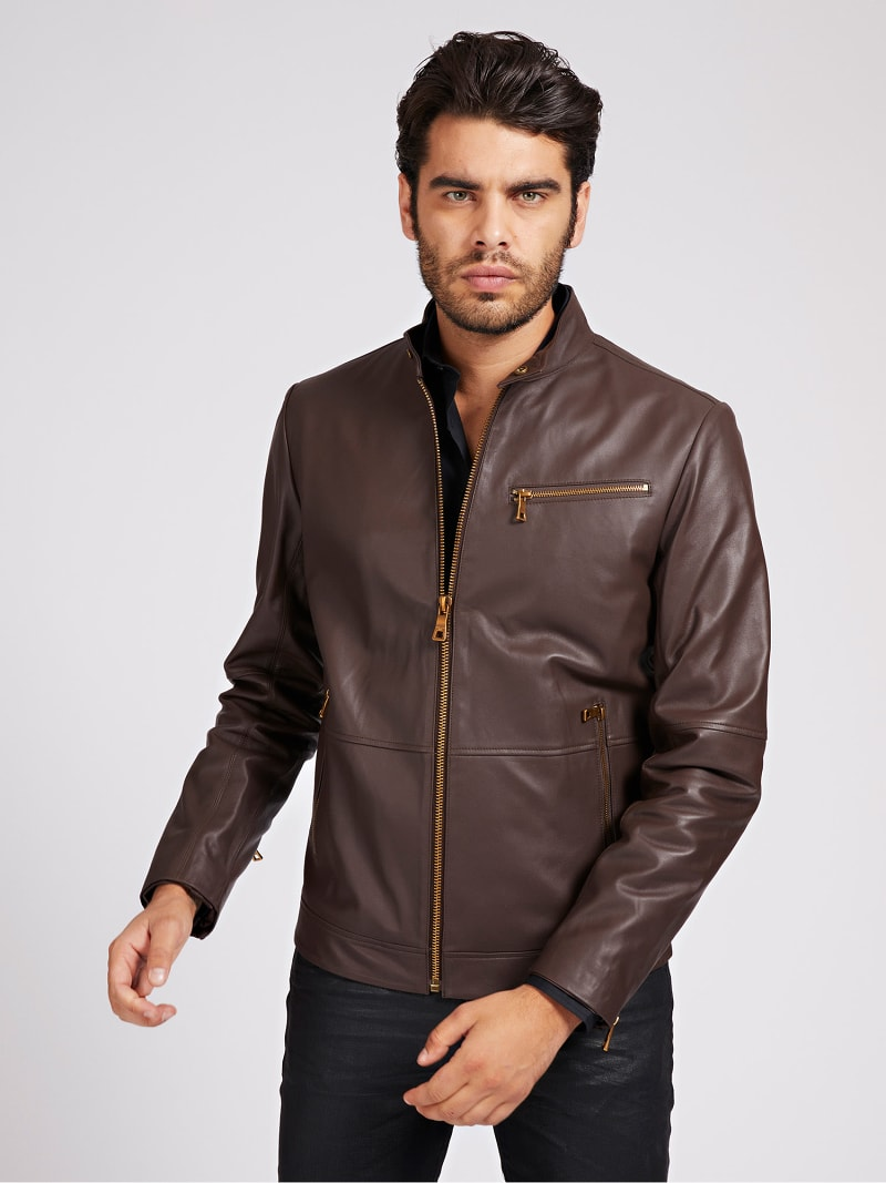 MARCIANO LEATHER BIKER JACKET image number 0