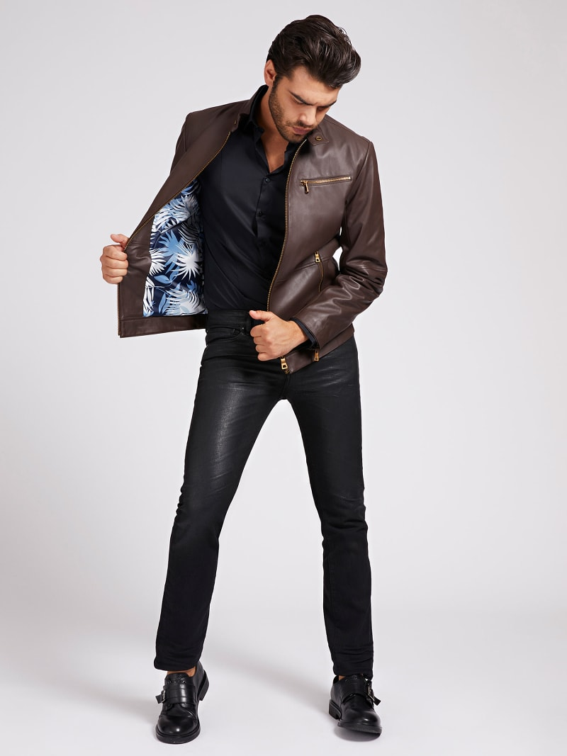 MARCIANO LEATHER BIKER JACKET image number 1