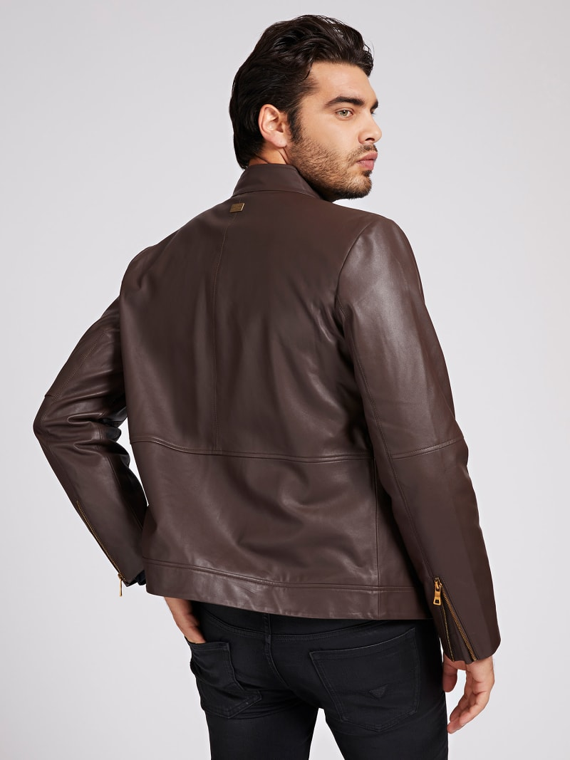 MARCIANO LEATHER BIKER JACKET image number 2