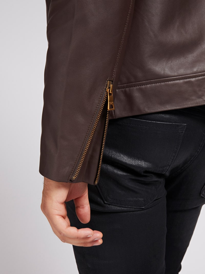 MARCIANO LEATHER BIKER JACKET image number 3
