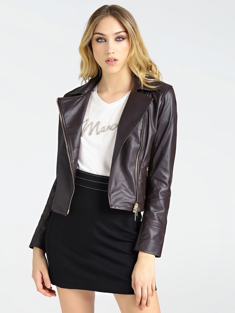 MARCIANO LEATHER JACKET FRINGES image number 0