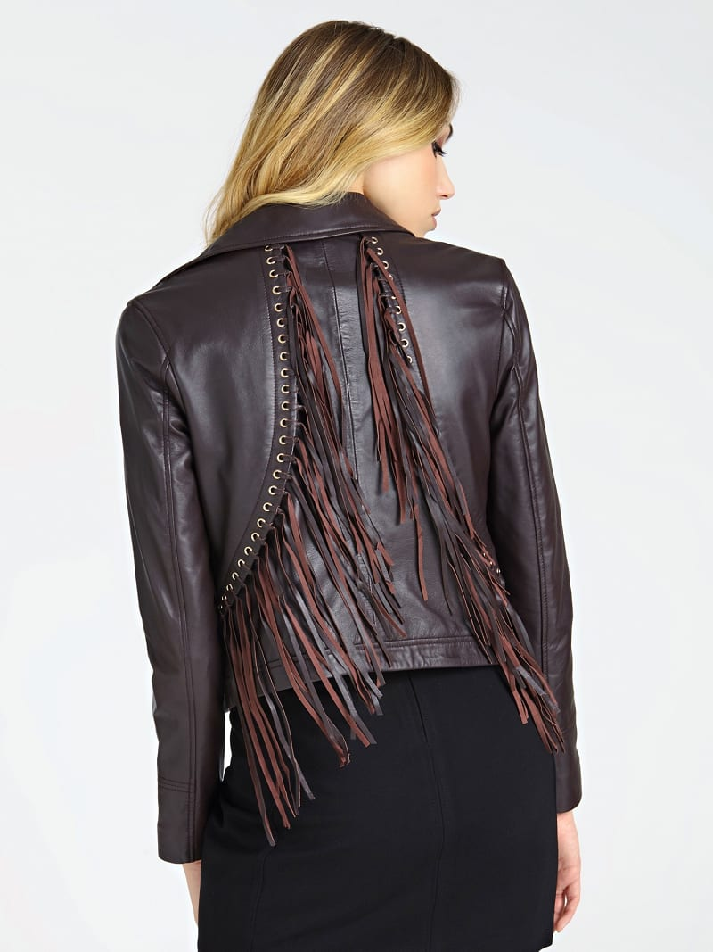 MARCIANO LEATHER JACKET FRINGES image number 2