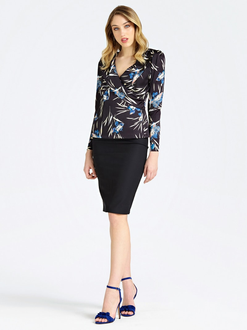 MARCIANO PENCIL SKIRT WITH BACK SLIT image number 1