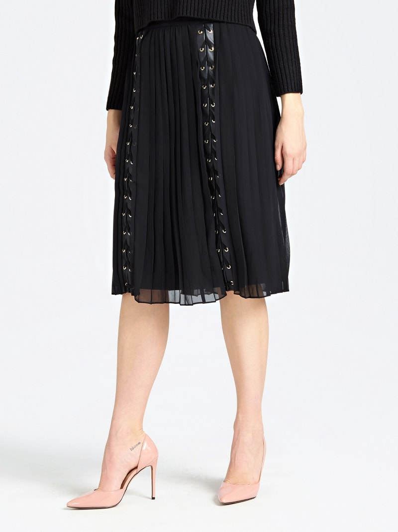 MARCIANO PLEATED SKIRT WITH LACE UP image number 0