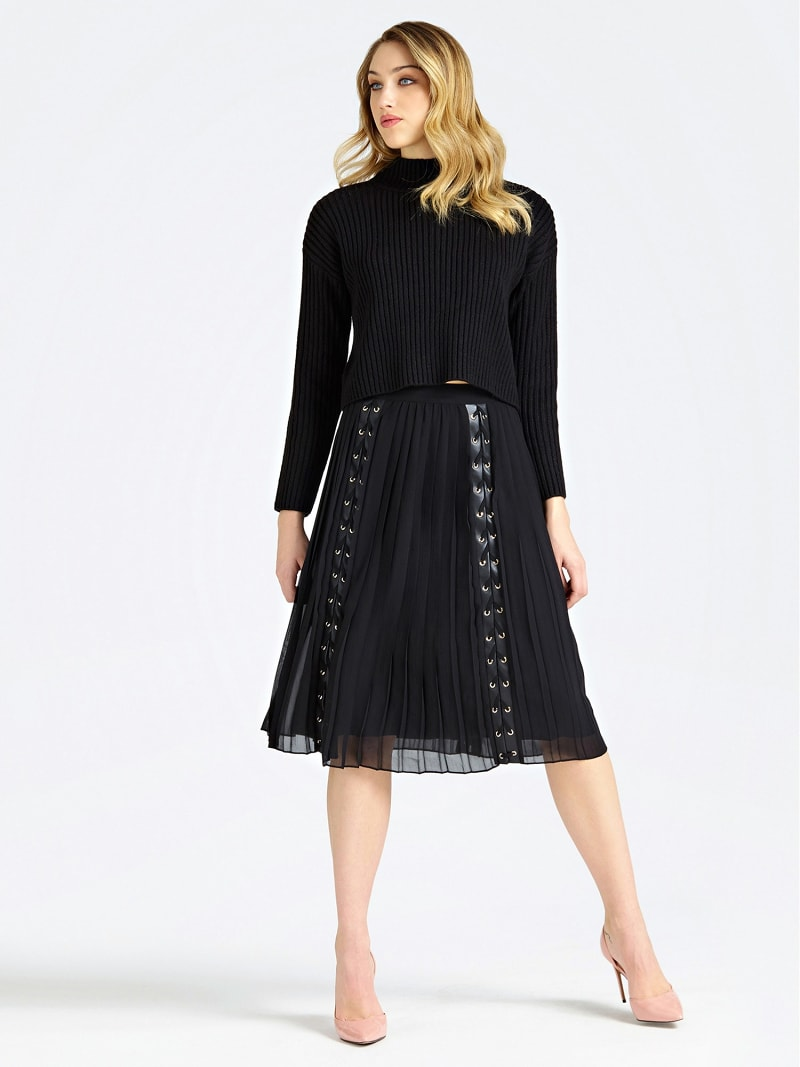 MARCIANO PLEATED SKIRT WITH LACE UP image number 1