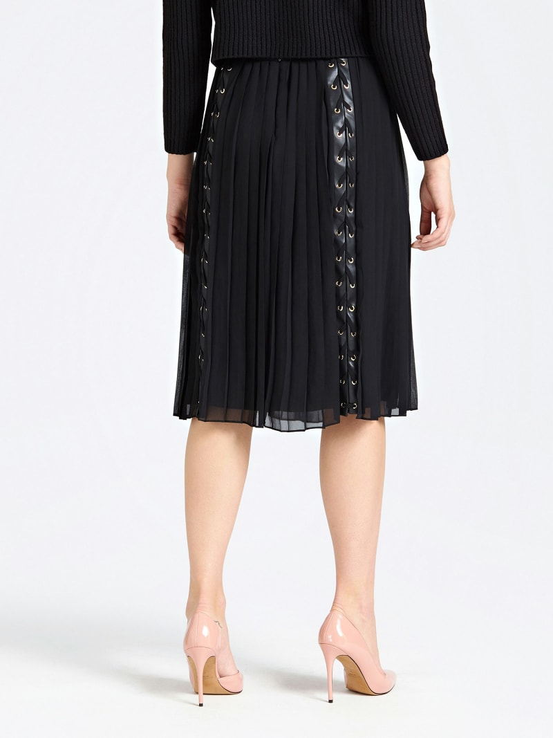 MARCIANO PLEATED SKIRT WITH LACE UP image number 2