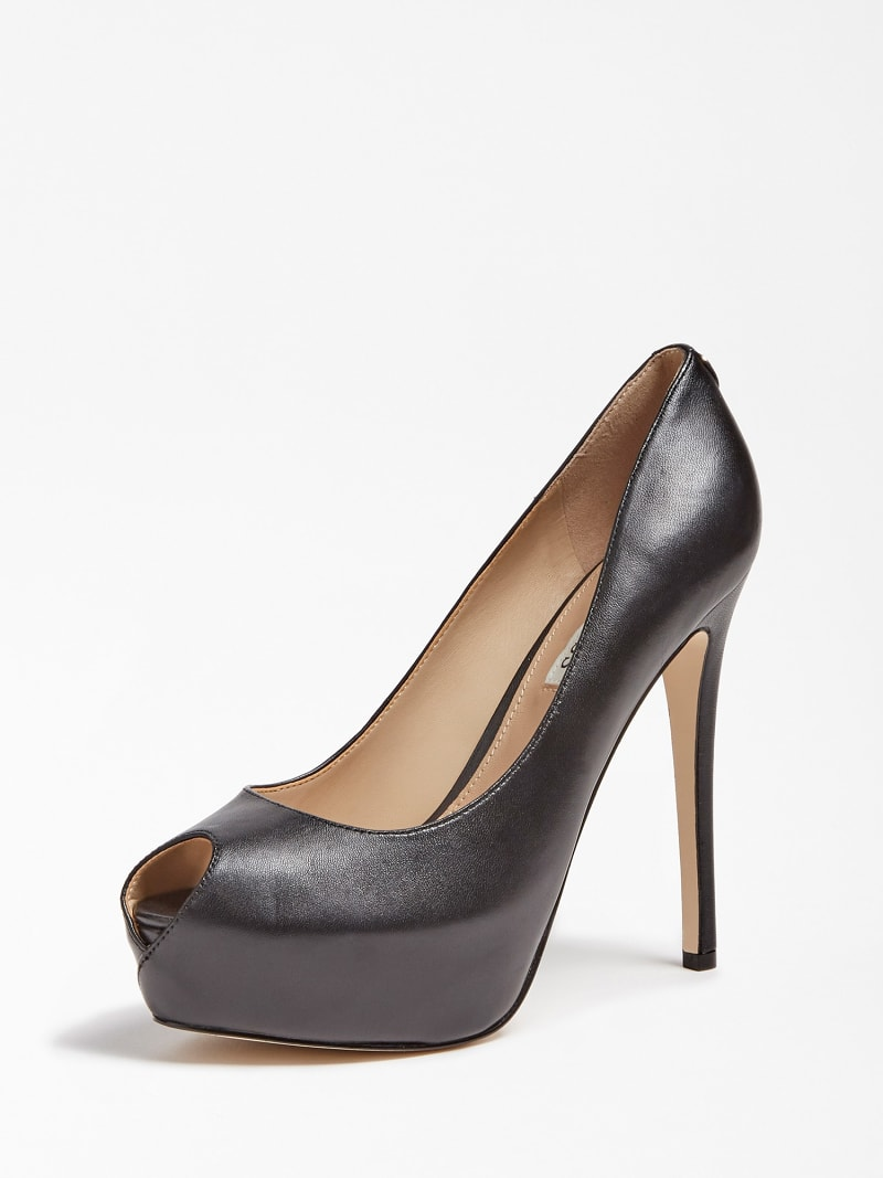 GIORGIA LEATHER PEEP-TOE COURT SHOE image number 0