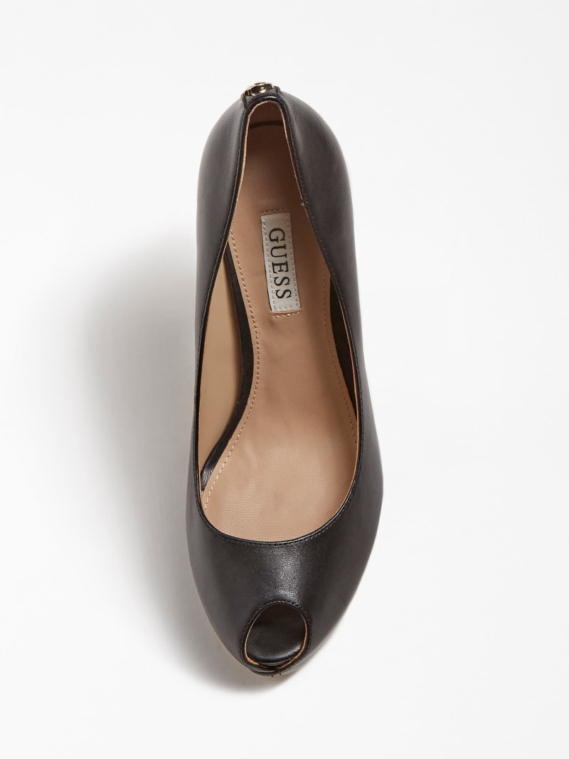 GIORGIA LEATHER PEEP-TOE COURT SHOE image number 3