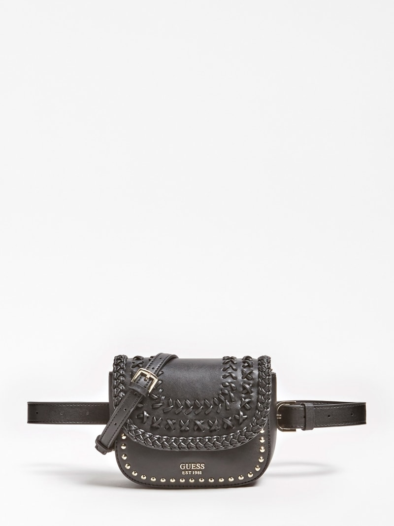 MINI HIPPIE LUX BELT BAG WITH CRISS-CROSS DETAILING AND STUDS image number 0
