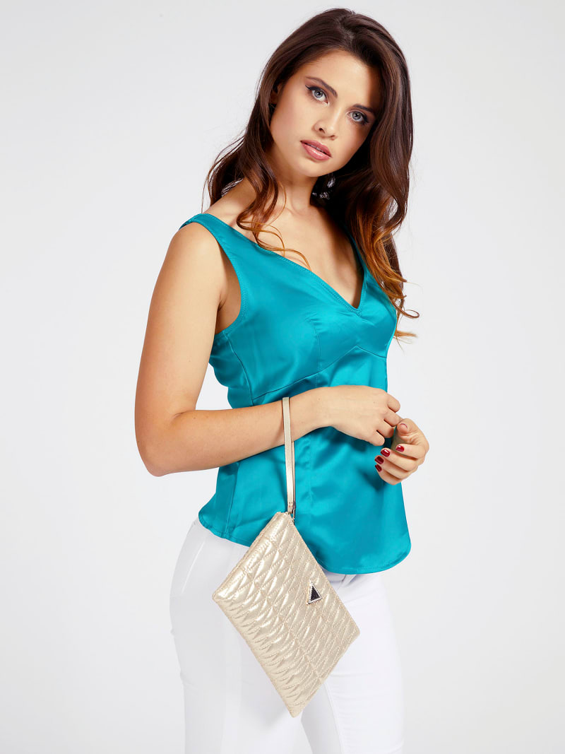 PIXI LAMINATED QUILTED CLUTCH image number 1
