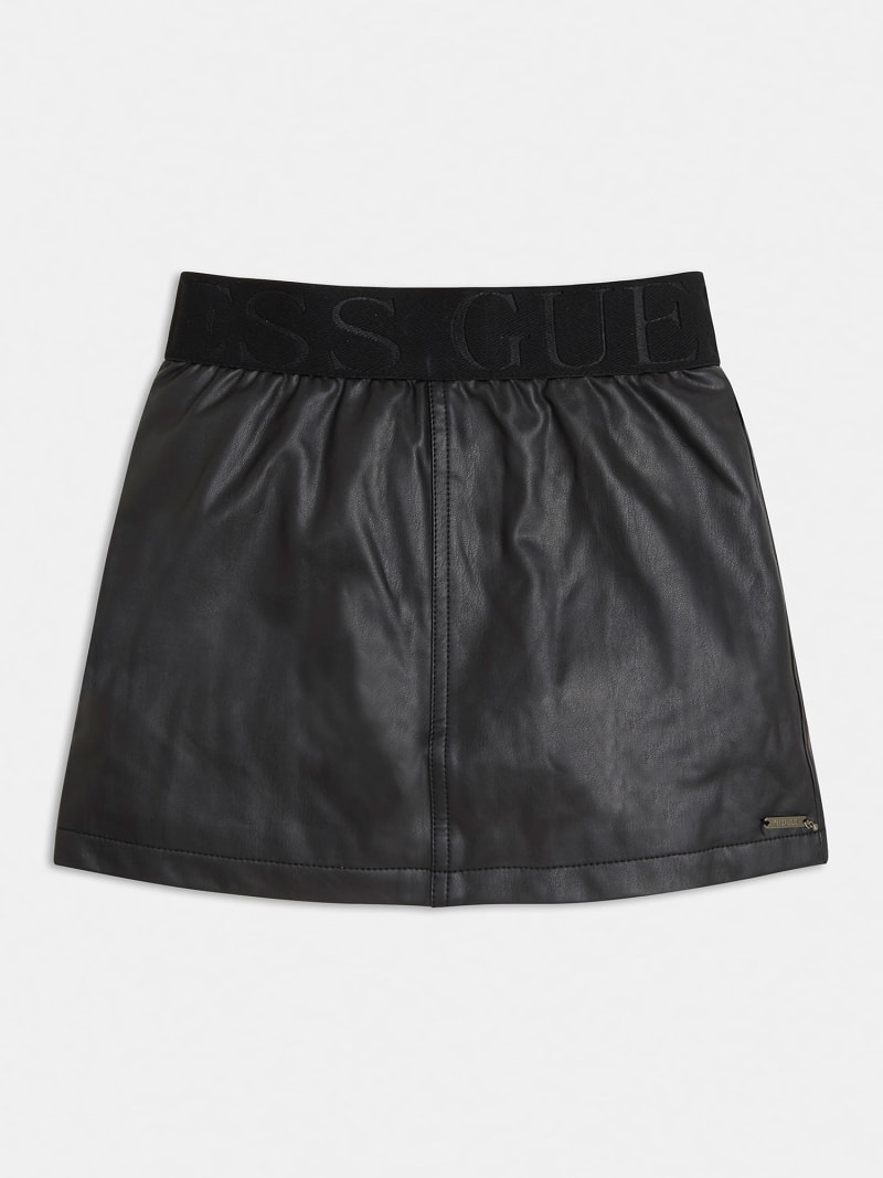 FAUX LEATHER LOGO SKIRT image number 0