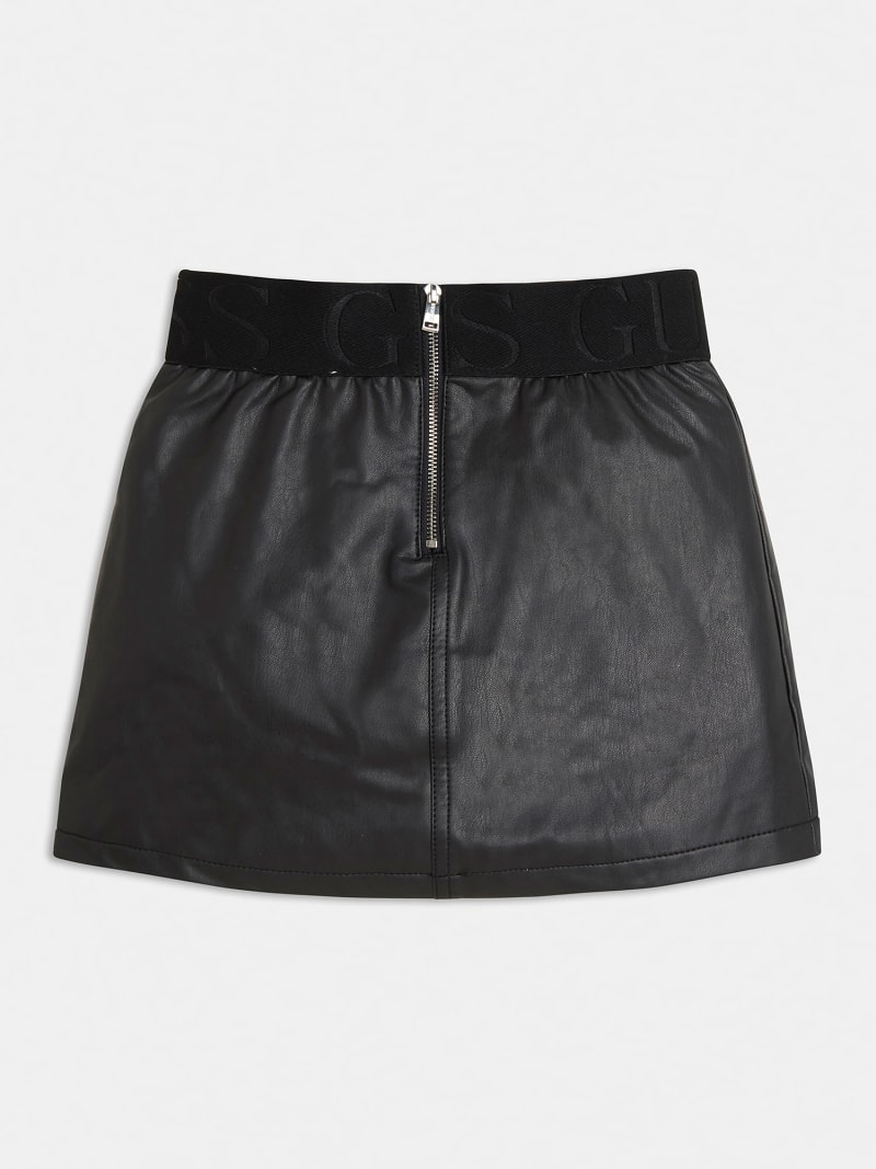 FAUX LEATHER LOGO SKIRT image number 1