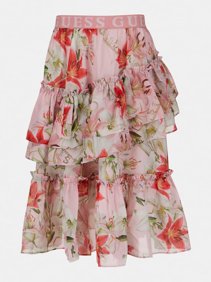 FLOWER PRINT CHIFFON SKIRT image number 0