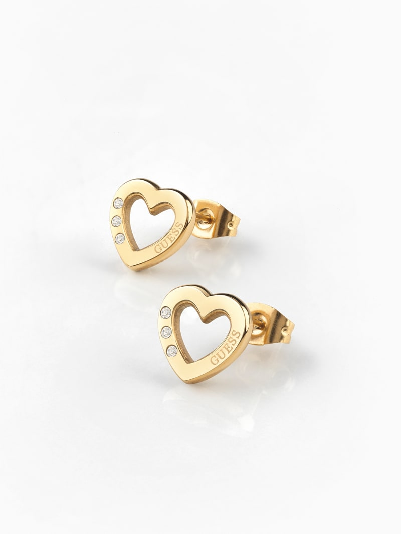 HEARTED CHAIN HEART EARRINGS image number 1