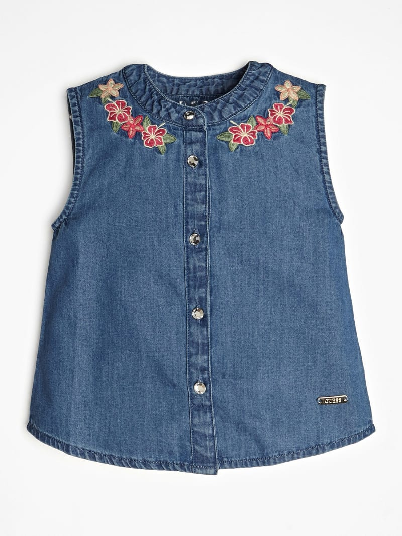 DENIM SHIRT WITH FLORAL EMBROIDERY image number 1