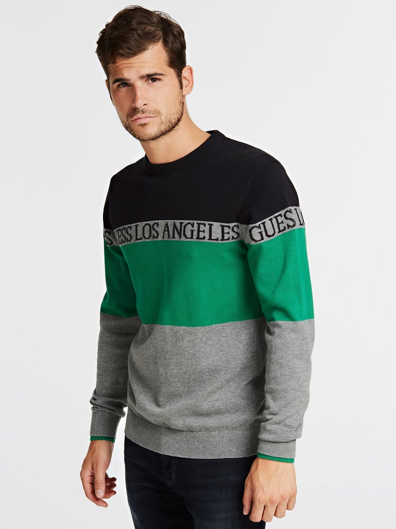 COLOR BLOCK JACQUARD SWEATER image number 0