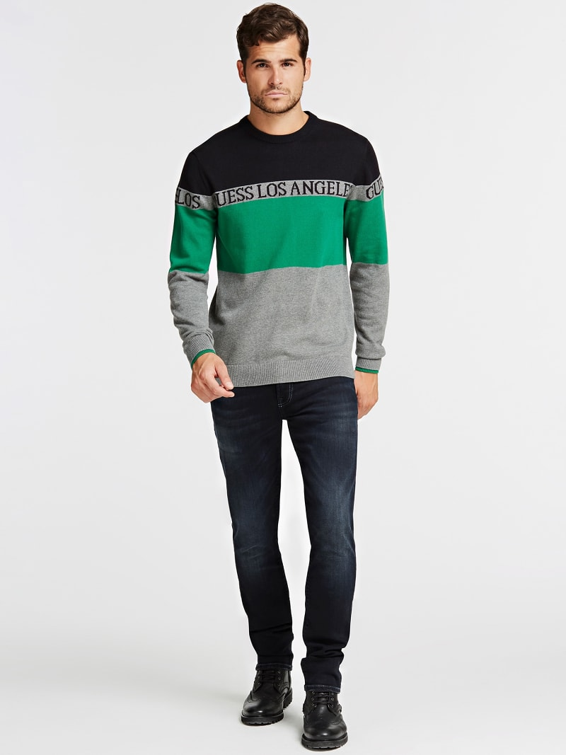 COLOR BLOCK JACQUARD SWEATER image number 1