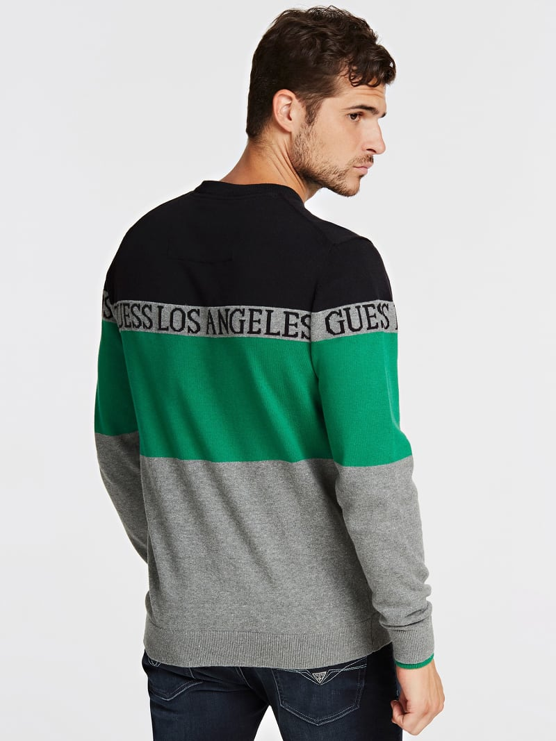 COLOR BLOCK JACQUARD SWEATER image number 2