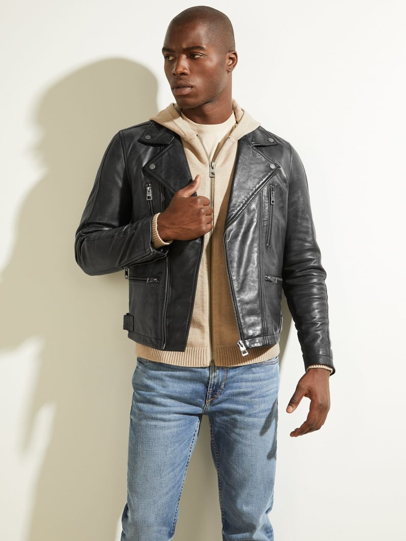 REAL LEATHER BIKER JACKET image number 0