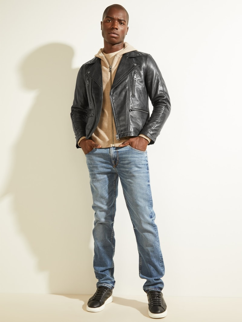 REAL LEATHER BIKER JACKET image number 1
