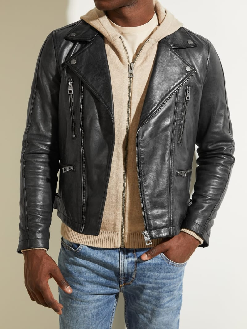 REAL LEATHER BIKER JACKET image number 2