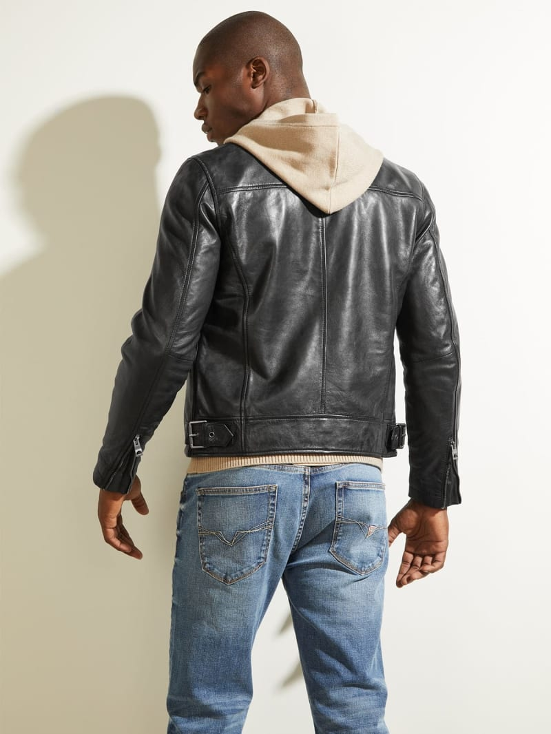 REAL LEATHER BIKER JACKET image number 3