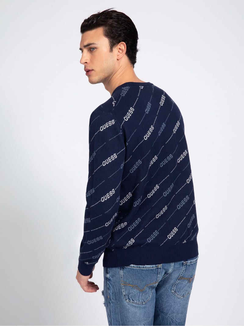 JACQUARD ALL OVER LOGO SWEATER image number 2