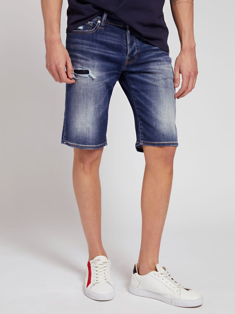 SLIM FIT DENIM SHORT ABRASIONS image number 0