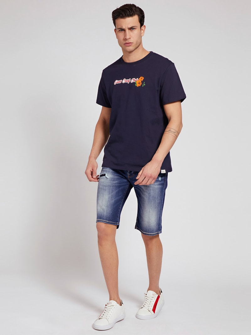 SLIM FIT DENIM SHORT ABRASIONS image number 1