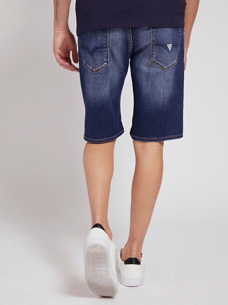 SLIM FIT DENIM SHORT ABRASIONS image number 2