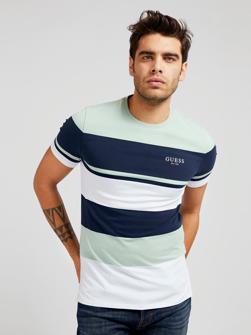 STRIPED FRONT LOGO T-SHIRT image number 0