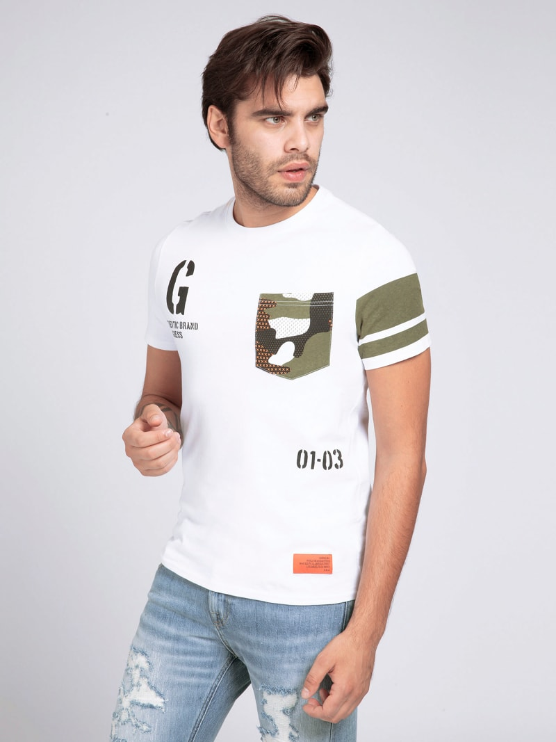 CAMOUFLAGE PRINT POCKET T-SHIRT image number 0