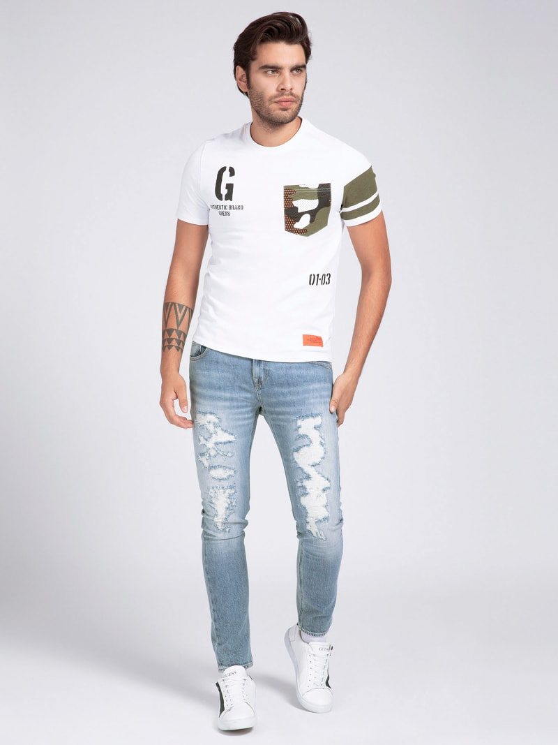 CAMOUFLAGE PRINT POCKET T-SHIRT image number 1