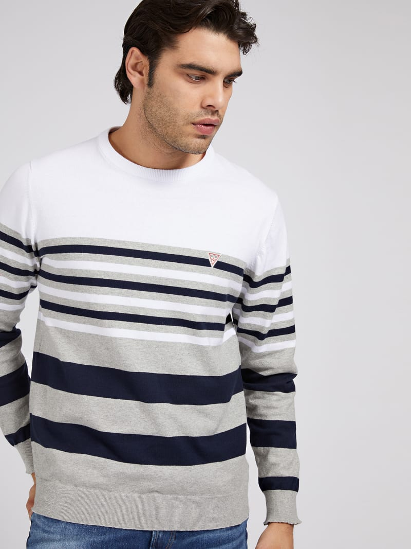 STRETCH COTTON STRIPED SWEATER image number 0