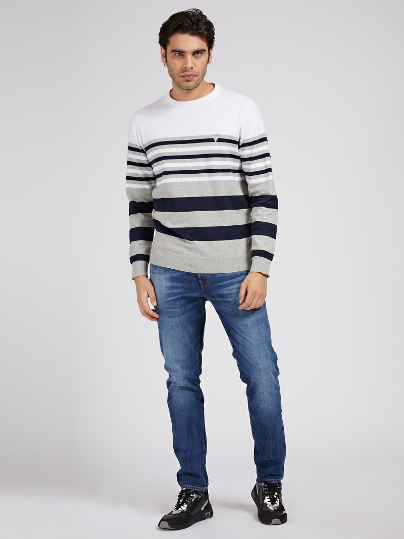 STRETCH COTTON STRIPED SWEATER image number 1