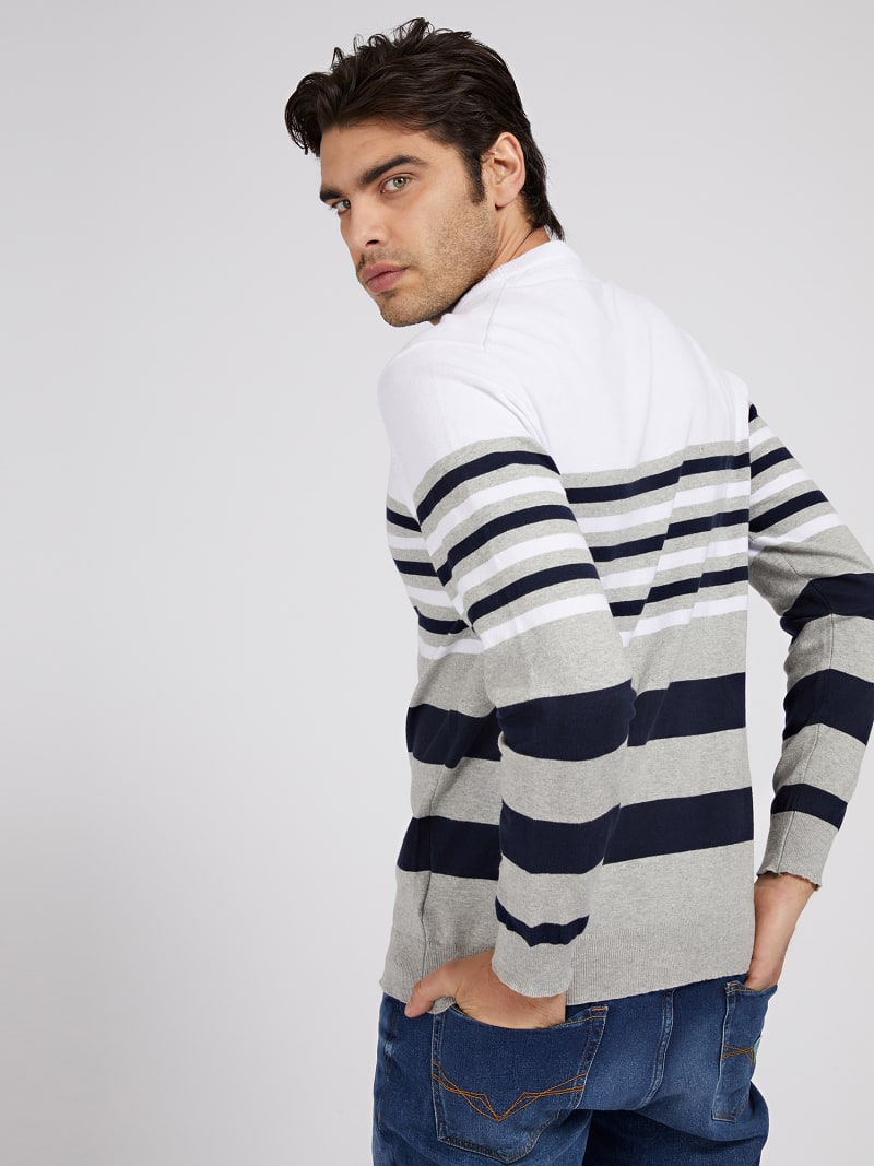 STRETCH COTTON STRIPED SWEATER image number 2