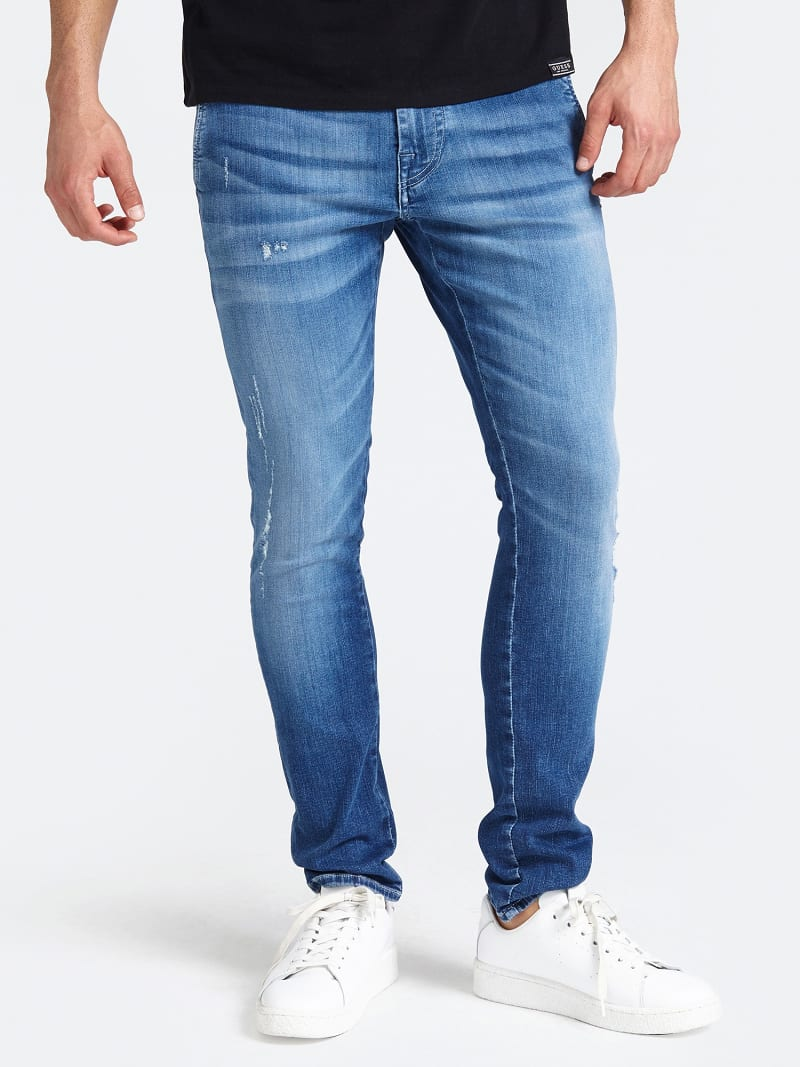 CHINO MODEL ABRASION DETAIL SKINNY JEANS image number 0