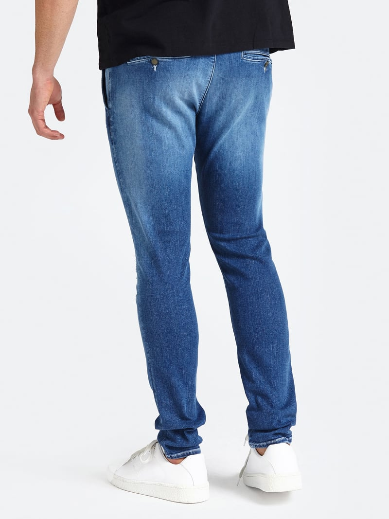 CHINO MODEL ABRASION DETAIL SKINNY JEANS image number 2