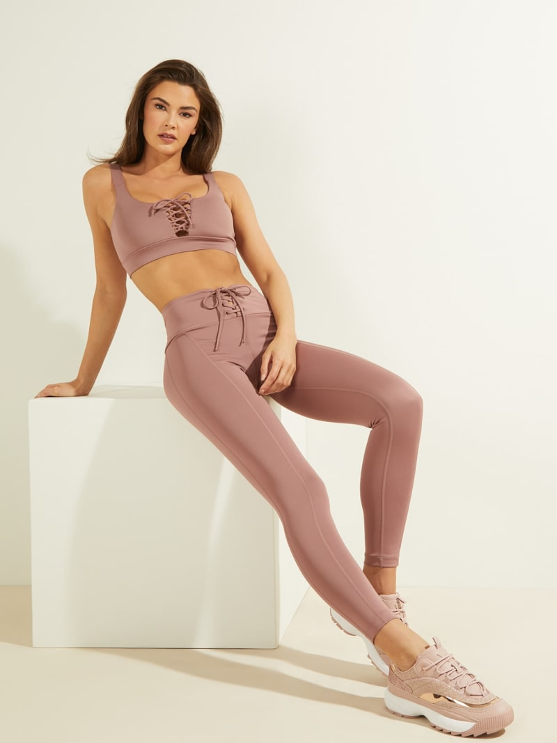 LACE UP MICROFIBER LEGGINGS image number 1