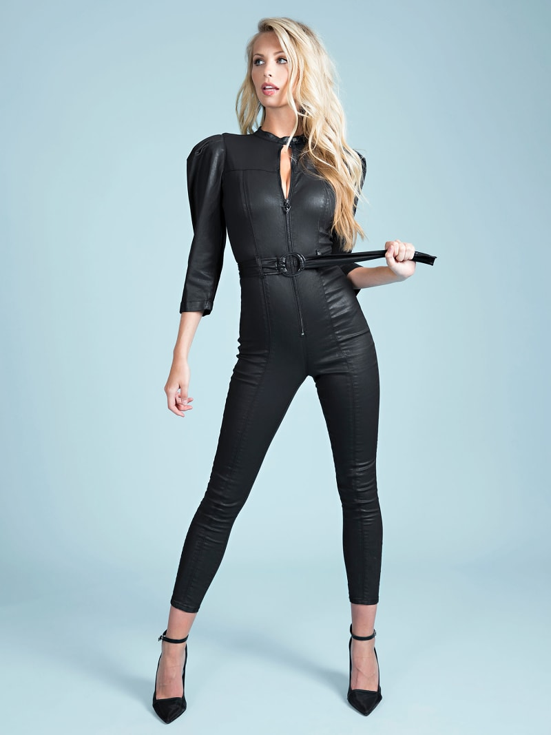 COATED SKINNY FIT DENIM JUMPSUIT image number 0