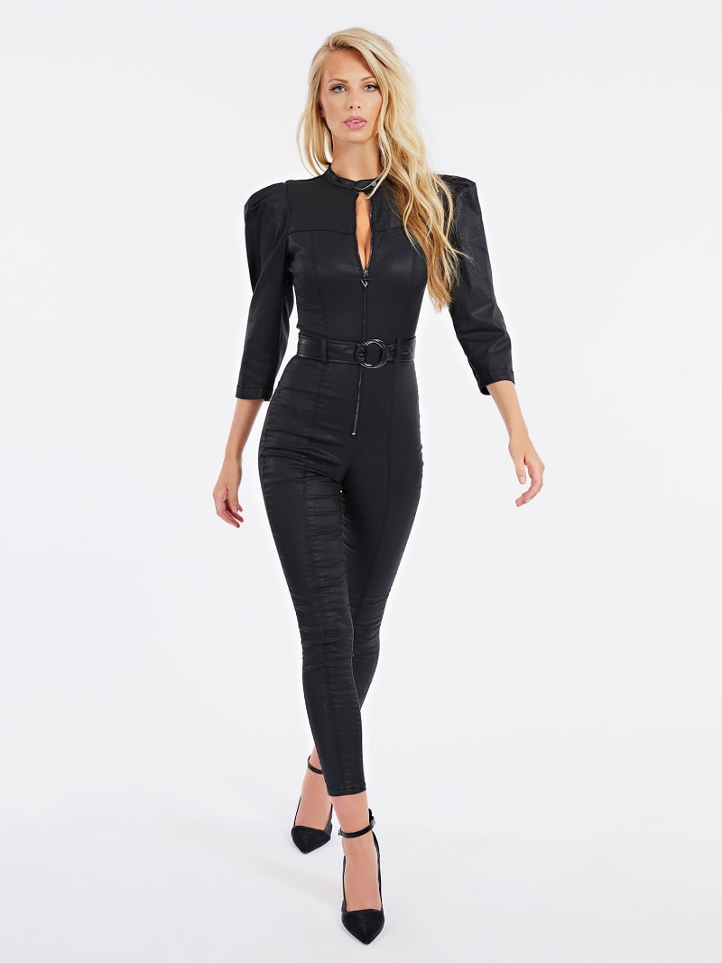 COATED SKINNY FIT DENIM JUMPSUIT image number 1
