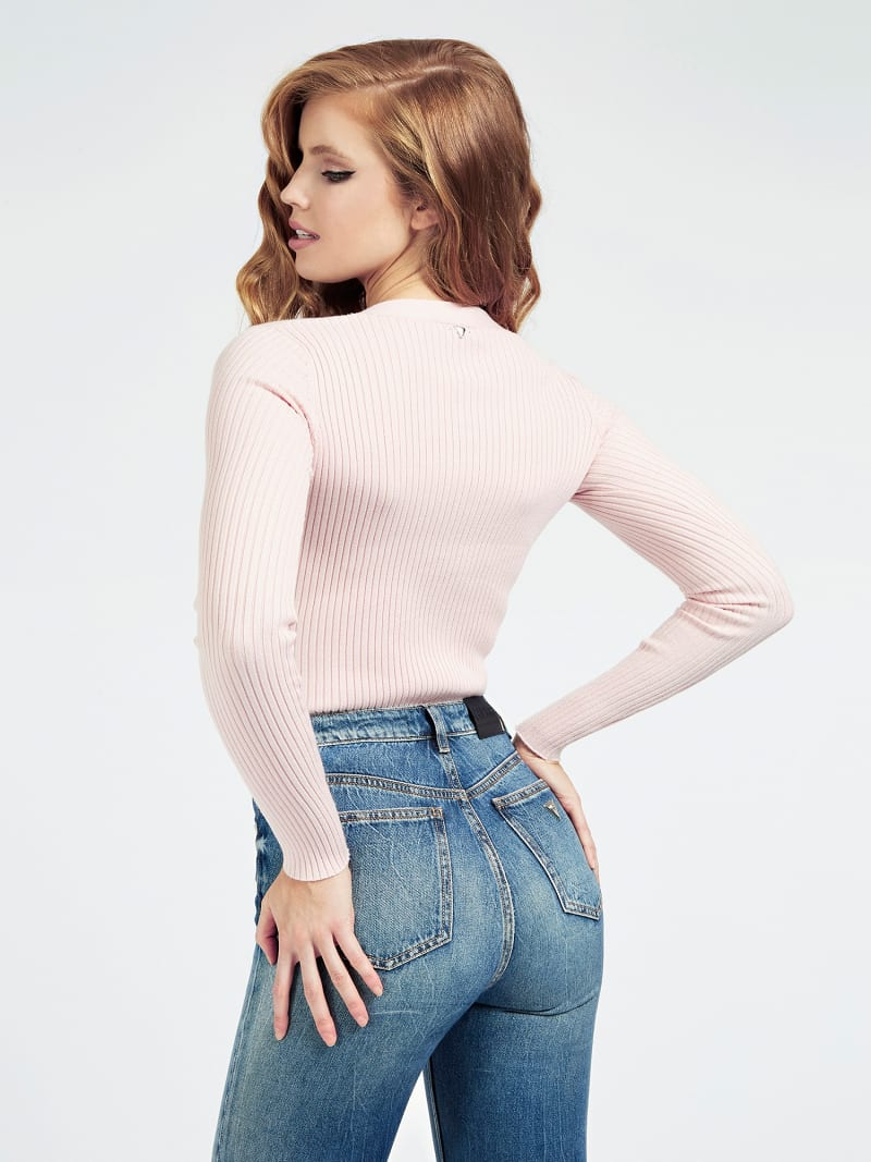 HENLEY NECK RIB SWEATER image number 2